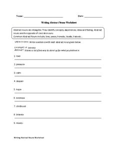 concrete and abstract nouns worksheet lesson planet worksheets for readig language arts. Black Bedroom Furniture Sets. Home Design Ideas