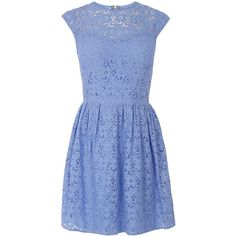 OASIS Lace Skater Dress (145 PLN) ❤ liked on Polyvore featuring dresses, blue, oasis dresses, pastel blue dress, pastel dresses, skater dress and blue summer dress