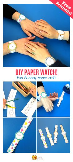 Paper Watch Craft for Kids  Here's a great way to teach your kids to tell time -  Create this paper craft together, and enjoy the process of learning!  Here's what you'll need -  1. Our printable PDF sheet which you can download here -  2. Scissors 3. Scotch tape 4. Pencil 5. Crayons  Here's what you need to do -  - First, cut the watches out.  - Next, start coloring in the watches. - You can now use your pencil to set the time of day - Finally, use the scotch tape to put the watch on your…