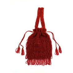 Preowned 1920s Art Deco Red Beaded Fringe Evening Bag