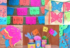 3 papel picado template patterns - Banners, butterflies + flags!