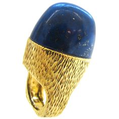 R.STONE Lapis Lazuli Gold Ring c1970 | From a unique collection of vintage dome rings at http://www.1stdibs.com/jewelry/rings/dome-rings/