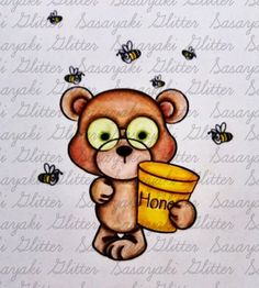 Teddy and Bees  Digital Stamp by Sasayaki Glitter