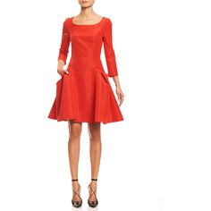 Carolina Herrera Faille 3/4-Sleeve Fit-&-Flare Cocktail Dress ($2,435) ❤ liked on Polyvore featuring dresses, fire red, 3/4 sleeve fit and flare dress, red fit and flare dress, red white dress, scoop neck dress and red cocktail dress