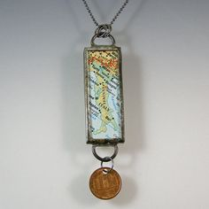 Italy Map and Coin Pendant Necklace by XOHandworks