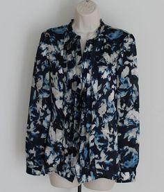 AK Anne Klein Size S Floral Ruffle Front Button Down Blouse Long Sleeves Blue #AnneKlein #Blouse #Career