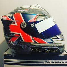 Bit of fresh paint for tom woods arai, with a fair bit of bling. #araihelmet #custompaint #motorsport