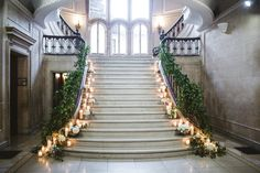 Grand Staircase Decor, Armour House Chicago Wedding, Photo: Amanda Megan Miller Photography