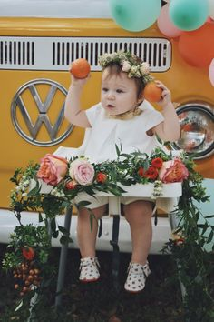 High chair, decor for smash cake, girl first birthday party, Framebridge, Garden roses, citrus decor, girl first birthday party, baby shower, floral arrangements, peonies and roses, orange themed party, citrus theme party
