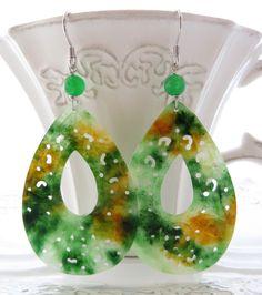 Carved Jade Earrings Green Dangle By Sofiasbijoux