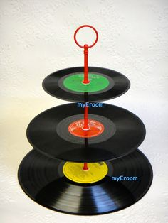 3 tier Vinyl Record Cupcake Stand Retro Cake Stand by myEroom, $22.00