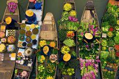 Floating market during Tet holiday in Vietnam