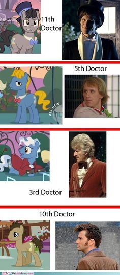 """Doctor Whoove's Incarnations on ""My Little Pony: Friendship Is Magic"" I've seen the tenth doctor in every episode ( it's fun to try and find him) but I never new there were more of them! Awesome!"