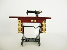 miniature treadle sewing machine for dollhouse by Sassydoggs for $5.00