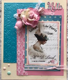 Welcome to Megs and the Lovely VJC,cards Velvet Ribbon, Paris, Welcome, I Card, Paper Flowers, Dots, Frame, Garden, Stitches