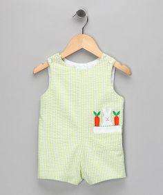 Green Gingham Bunny Romper - Infant