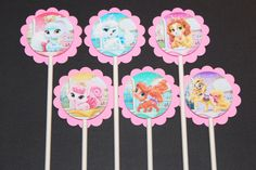 Princess Palace Pets Cupcake Toppers, 12 count Cake Toppers, Disney Princesses Palace Pets by SuperCutePartySupply on Etsy https://www.etsy.com/listing/236316689/princess-palace-pets-cupcake-toppers-12