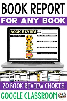 Digital Book Report Template for Any Book Review Template, Book Report Templates, Teaching Reading, Teaching Kids, Learning, School Resources, Teaching Resources, Library Lessons, Library Skills
