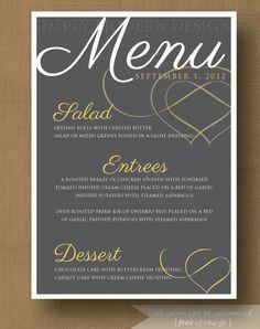 Printable Menu - Wedding -  Custom Colors - Digital File - DIY Printable - Set includes 6. $14.50, via Etsy.