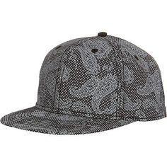 Black and grey paisley snapback - hats - accessories - men