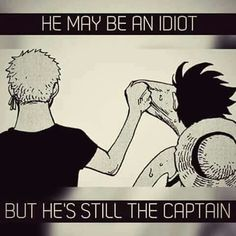 Zoro as unfailing respect for the future Pirate King. ☺