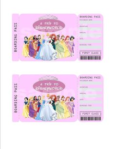 Printable Ticket to Disneyworld/Disneyland by KirstensKreation