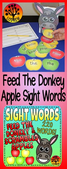 333 pages of sight word centers featuring all 220 Dolch sight words. Activities include feeding a donkey sight word apples and unscrambling sight words. Great for a farm theme too. For kindergarten, preschool, first grade, primary, SPED, child care, homeschool, or any early childhood setting.