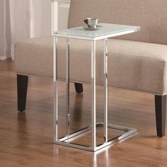 Coaster Accent Tables Chrome Snack Table with Frosted Tempered Glass Top (EM111888) | Emporium.com