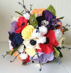 Wildflower wedding bouquet - Rustic chic weddings - Handmade bride bouquet - Alternative wedding bouquet - Custom fabric flower bouquet. £175.00, via Etsy.