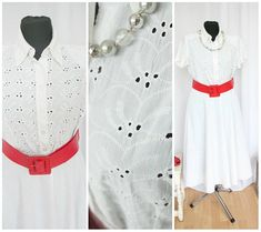 White Embroidered Blouse Vintage Blou 1990 90s  Elegant   Blouse  Fashion Size M   Sumer Blouse Short Sleeve