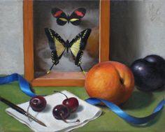 """""""Butterflies and Fruit Still Life"""" original fine art by Debra Becks Cooper"""
