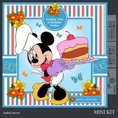 Tons Of Birthday Wishes 4 - Mini Kit Includes: Card Front, Mini Print & Fold Card, Card Insert, Tiles, Decoupage, Sentiment Tags and Preview