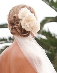 WeddingChannel Galleries: Updo with Veil and Flowers