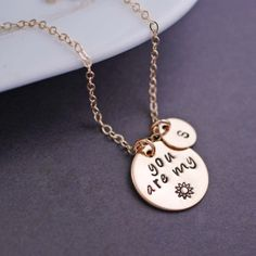 You are my Sunshine Necklace Personalized Gold by georgiedesigns