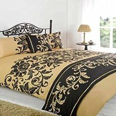 Asha Gold Black Floral Duvet Quilt bedding Bed in a Bag Cushion Cover Runner Embroidered Bedding, Bed In A Bag, Bed Runner, Black Bedding, Quilt Bedding, Black Quilt, Duvet Sets, King Beds, Bed Design