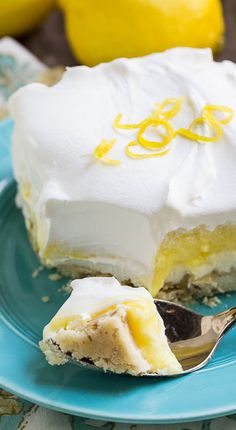 Lemon Lush is a cool, light, creamy dessert perfect for summer entertaining. Four layers give this dessert plenty of sweet and tart yumminess. 13 Desserts, Lemon Desserts, Lemon Recipes, Sweet Recipes, Delicious Desserts, Dessert Recipes, Yummy Food, Southern Desserts, Pudding Desserts