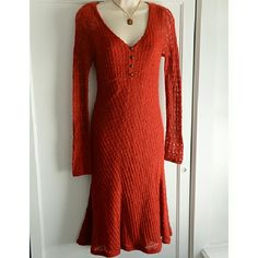 """VGUC Anthropologie Sparrow Sweater Midi Dress This is beautiful -- worn once and hangin' with the rest, since. This has a 55% cotton/45% rayon attached slip  with adjustable straps beneath in like-new condition. Little brass button adornments in front. Measurements: Bust: 17"""", approx hips: 17-19.5"""", total length: 43.5"""". I removed the sweater materials tag, but I believe it is part angora/acrylic. Anthropologie Dresses Midi"""