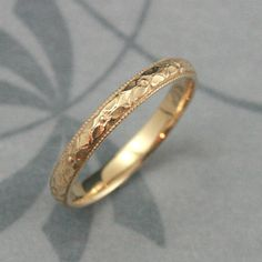 Solid 14K Gold Renaissance Wedding Band--Cast in Solid 14K Gold--Vintage Style Pattern with Milgrain Edge--Gold Patterned Wedding Ring on Etsy, $255.00