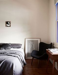 The master bedroom is also filled with artworks of various kinds