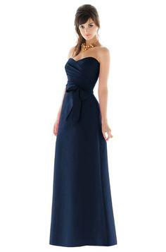 strapless Navy midnight blue long bridesmaid dress, winter Christmas wedding Alfred Sung D453 Bridesmaid Dress   Weddington Way