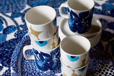 Marimekko Pop-up Shop Marimekko, Blue Dinnerware, Fika, Bold Prints, Tea Set, Interior And Exterior, Designer, Modern, Interior Decorating