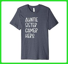 Mens Auntie Sister Gamer Hero - Funny Nerd Aunt T-Shirt Small Heather Blue - Gamer shirts (*Amazon Partner-Link)