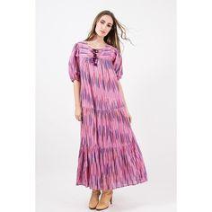 Vintage Adini Sultana / 1970s India cotton gauze ikat print maxi dress / Exquisite tiered caftan / S M L