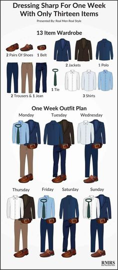 Fashion infographic & data visualisation 13 Item Interchangeable Wardrobe Infographic – One Week Outfit Plan Infographic Infographic Description Dressing Sharp For One Week with only 13 Items – Infographic Source – Mode Masculine, Men's Wardrobe, Capsule Wardrobe, Wardrobe Staples, Mens Wardrobe Essentials, Travel Wardrobe, Mode Outfits, Fashion Outfits, Fashion Tips
