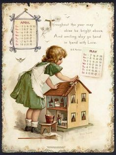 WHEN THE HEART IS YOUNG.... Reminds me of me as a girl. Was learning the fundamentals of maintaining a clean home... And I had a custom doll house too.