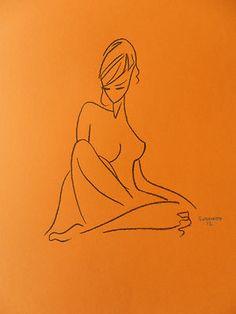 Figure Drawing Orange Paper