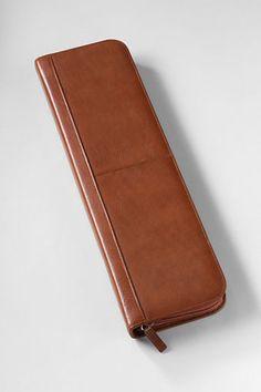 monogrammed dark english tan leather tie case - groomsmen gift