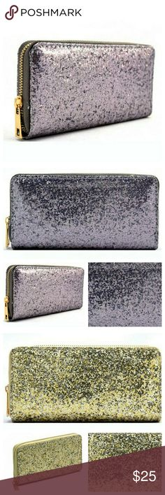 sparkle glitter wallet New metallic glitter zip around wallet in pewter, pink, OR gold. Monochromatic lining. This listing is for 1 wallet  The perfect wallet to show off your unique personality or gift to someone awesome! This can also be used as a clutch for cocktail parties  Single zip around closure Textured faux leather Inside lining with coin zipper pocket Credit card & Bill holders 7.75 (W) x 1 (D) x 3.75 (H) inches Bags Wallets