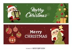 Couple of Christmas banner designs featuring illustrated elements such as Santa, ornaments, Christmas trees and more. Designs also say Merry Christmas.