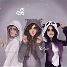 Imagem de girly_m, friends, and drawing